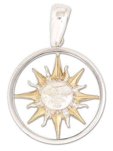 Gold acented pendant, 'Sun with a Halo' - Mexico 22k Gold Plated Handmade Silver Pendant