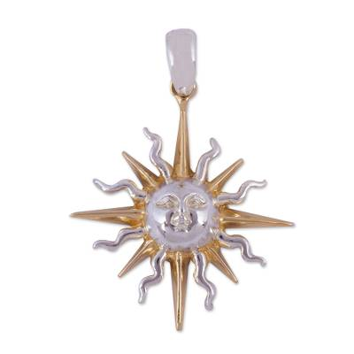 Gold accented sterling silver pendant, 'Brilliant Sunbeams' - Hand Made Sun and Moon Gold Accent Pendant