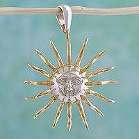 Gold plated pendant, 'Majesty of the Sun' - Gold Plated Sterlingn Silver Sun Pendant