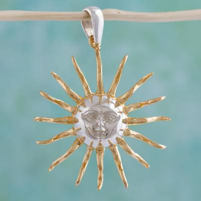Gold plated sterlingn silver sun pendant majesty of the sun novica gold plated pendant majesty of the sun gold plated sterlingn silver sun mozeypictures Choice Image