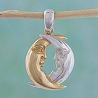 Gold accented sterling silver pendant, 'Moon in Love' - Gold Accented Moon Pendant in Sterling SIlver