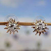 Gold accented sterling silver button earrings, 'Jolly Sun'