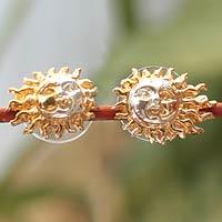 Gold plated earrings, 'Shadows on the Sun'