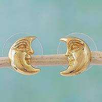 Gold plated button earrings, 'Crescent Moon' - Yellow Gold and Mexican Silver Earrings