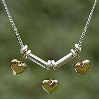 Gold plated choker, 'Three Dancing Hearts' - Fair Trade Sterling Silver Women's Heart Choker