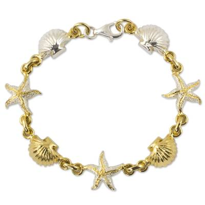 Gold accented charm bracelet, 'Treasures of the Sea' - Gold plated charm bracelet