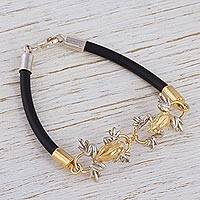 Gold plated pendant bracelet, 'Rain Frogs' - Gold plated bracelet