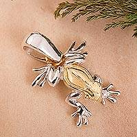 Featured review for Gold accented sterling silver pendant, Rain Frog