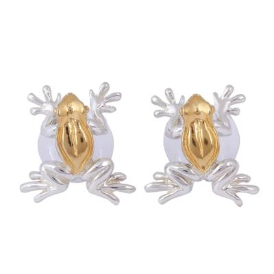 Gold plated button earrings, 'Rain Frogs' - Gold Accent Frog Earrings