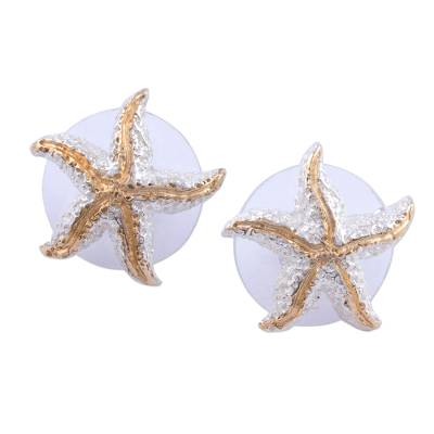 Gold accented button earrings, 'Treasures of the Sea' - Handmade Gold Accent Starfish Button Earrings