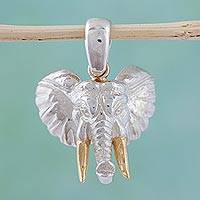Gold plated pendant, 'Mighty Elephant' - Mexican Gold Accent Elephant Pendant