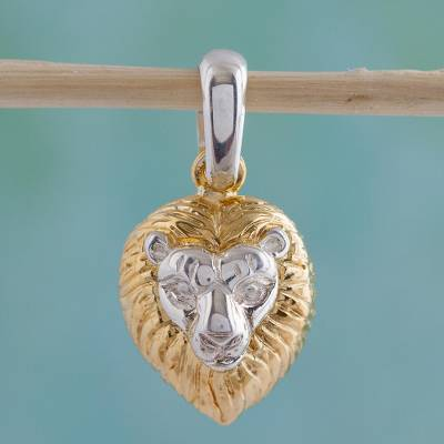 Gold plated pendant, 'King of the Cats' - Mexican Gold Accent Lion Pendant