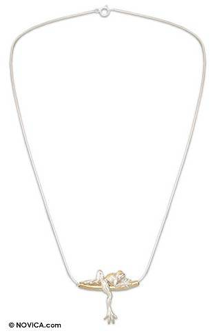 Gold plated necklace, 'Rain Frog Dreams' - Gold Accent Sterling Silver Pendant Necklace