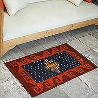 Zapotec wool rug, 'Mystic Night' (2x3) - Zapotec wool rug (2x3)