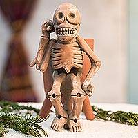Ceramic statuette, 'Lord of the Dead' - Ceramic Statuette Vessel Day of the Dead Mexico