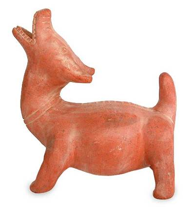 Ceramic statuette, 'Underworld Dog Guide' - Handmade Mexican Protection Ceramic Dog Sculpture