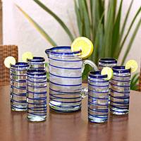 Highball glasses, 'Cobalt Spiral' (set of 6) - Handblown Blue Swirl Glass Set
