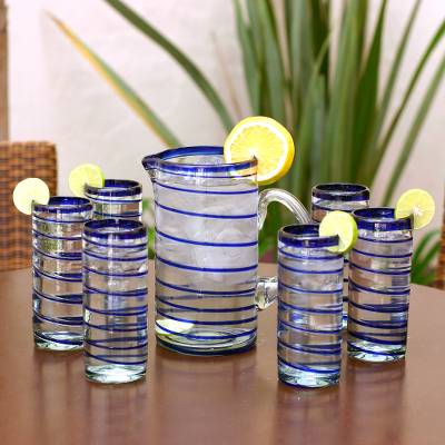 Highball glasses, Cobalt Spiral (set of 6)