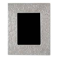 Aluminum picture frame, 'Leaves' (5x7) - Aluminum picture frame (5x7)