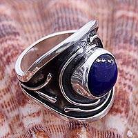 Lapis lazuli ring, 'Sacred Knowledge' - Artisan Crafted Modern Sterling Silver Lapis Lazuli Ring