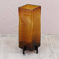 Glass vase, 'Amber Reflection' - Fair Trade Art Glass Hand Blown Vase with Iron Stand Mexico