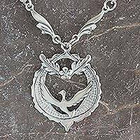 Sterling silver necklace, 'Peaceful Dove, Crowned with Olive Branches' - Collectible Sterling Silver Bird Peace Necklace
