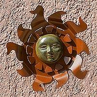Iron wall adornment, 'Aztec Sun' - Pre-Hispanic Steel Sculpture Solar Face Wall Art
