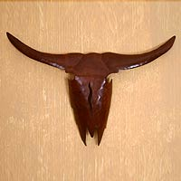 Iron wall adornment, 'Longhorn' - Western Steer Handcrafted Steel Wall Art