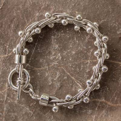 Sterling silver bracelet, 'Charisma' - Modern Taxco Silver Link Bracelet