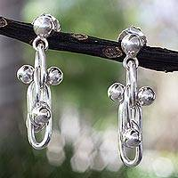 Sterling silver dangle earrings, 'Charisma' - Taxco Sterling Silver Earrings Artisan Crafted Jewelry