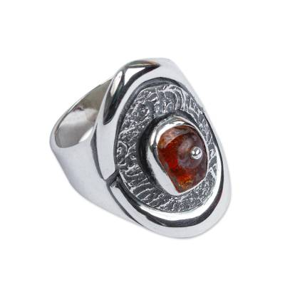 Amber cocktail ring, 'Honey Sea' - Handmade Sterling Silver Amber Ring