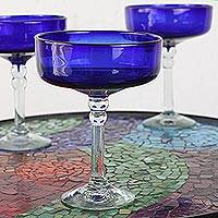 Margarita glasses, 'Ocean Blue' (set of 4) - Handblown Royal Blue Margarita Glasses from Mexico (Set of 4