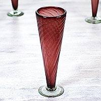 Extra-tall champagne flutes, 'Amethyst Elegance' (set of 4) - Purple Handblown Glass Champagne Flutes (Set of 4)