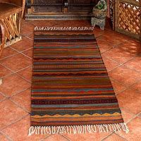 Zapotec rug, 'Glowing Embers' (2.5x6.5) - Handmade Zapotec Rug (2.5x6.5)