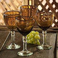 Wine goblets, 'Ocean Gold' (set of 4) - Mexican Handblown Recycled Glass Wine Stemware (Set of 4)