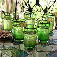 Drinking glasses, 'Lime Twist' (set of 6) - Artisan Crafted Handblown Recycled Water Glasses (Set of 6)