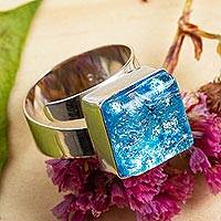 Dichroic art glass cocktail ring, 'Blue Sea' - Modern Blue Dichroic Art Glass and Sterling Silver Ring