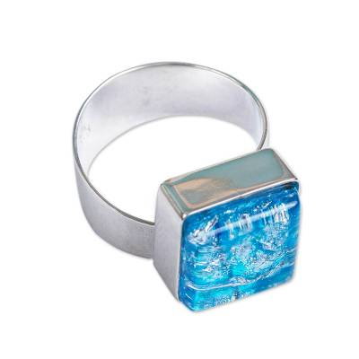 Dichroic art glass cocktail ring, 'Blue Sea' - Modern Dichroic Art Glass Ring