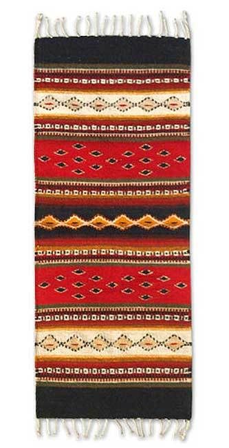 Zapotec wool rug, 'Forest Paths' (1x3) - Zapotec Rug Runner Hand Loomed Art 1x3 Mexico