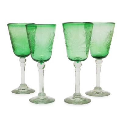 Etched wine glasses, 'Emerald Flowers' (set of 4) - Mexican Etched Handblown Glass Wine Goblets (Set of 4)
