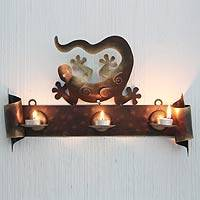 Iron candleholder, 'Happy Gecko' - Handcrafted  Steel Lizard Wall Sconce Candleholder