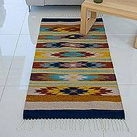 Zapotec wool rug, 'Stars on the Horizon' (3x5) - Zapotec Wool Area Rug (3x5)