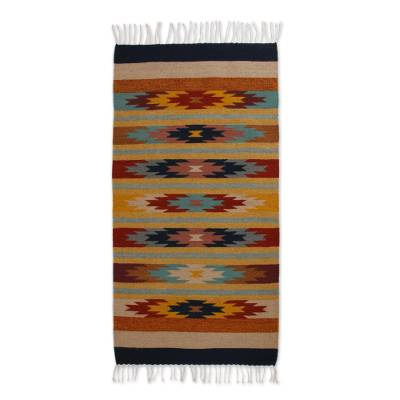 Zapotec wool rug, 'Stars on the Horizon' (3x5) - Zapotec wool rug (3x5)