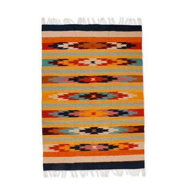 Zapotec Wool Rug 4x6 Wildflowers Novica
