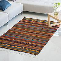 Zapotec wool rug, 'Earth's Splendor' (4x6) - Zapotec Area Rug from Mexico (4x6)