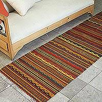 Zapotec wool rug, 'Ancient Ones' (2.5x10) - Traditional Zapotec Hand Woven Striped Runner Rug