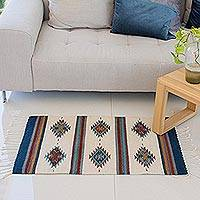 Zapotec wool rug, 'Blue Diamond Diversity' (2x3) - Zapotec wool rug (2x3)