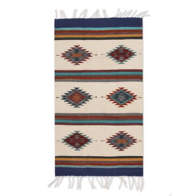Zapotec Wool Rug 2x3 Blue Diamond Diversity Novica