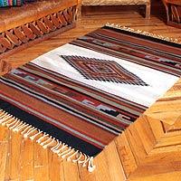 Zapotec wool rug, 'Misty Diamond' (4x6) - Zapotec wool rug (4x6)