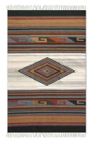 Zapotec wool rug, 'Misty Diamond' (4x6) - Zapotec wool rug (4x6)